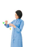 Female chemist in studio Royalty Free Stock Photography
