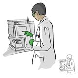 Female chemist using computer in laboratory vector illustration stock illustration