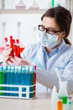 The female chemist working in hospital lab. Female chemist working in hospital lab Royalty Free Stock Photo