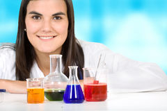 Female with chemistry objects Stock Images