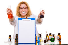 Female chemistry student with glassware test flask. Royalty Free Stock Image