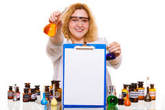 Female chemistry student with glassware test flask. Stock Image