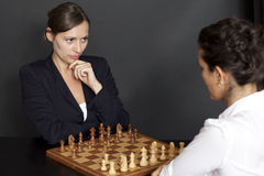 Female chess game Stock Photo