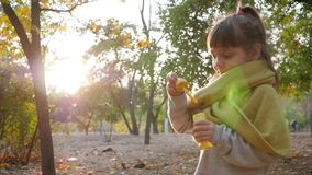 Female child blowing soap bubbles and smiling in autumn park on background trees. And sun stock video footage