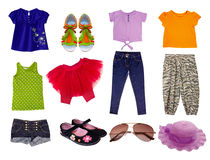 Female child girl clothes.Isolated. Stock Photos