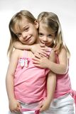 Female children twins. Portrait of female caucasian twins stock images