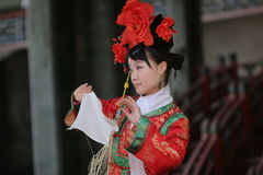 Female chinese dancer. On stage at the summer palace in beijing Stock Image