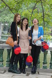 Portrait of happy female Chinese students, China  Royalty Free Stock Photos