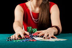 Female with chips and banknotes Stock Images