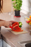 Female chopping food ingredients Stock Photo