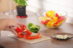 Female chopping food ingredients Stock Images