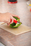 Female chopping food ingredients Royalty Free Stock Photo