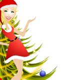 Female Christmas Presenter. An illustration featuring a woman wearing a festive little red dress standing in front of trees and gifts with hand raised presenting Stock Photo