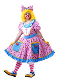 Female circus clown. Female clown in dress taking a bow Royalty Free Stock Photos