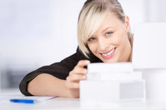 Female civil engineer. Planning new house in a close up shot Stock Image