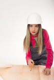 Female civil engineer standing next to the table Royalty Free Stock Images