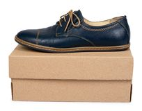 Female classic leather formal shoes with box isolated on white background.  Stock Photos