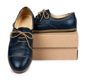 Female classic leather formal shoes with box isolated on white background.  Royalty Free Stock Images