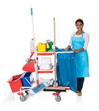 Female Cleaner With Cleaning Equipment Royalty Free Stock Image