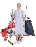 Female Cleaner With Cleaning Equipment Stock Photos