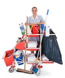 Female cleaner with cleaning equipment Royalty Free Stock Photo