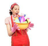 Female cleaner holding bucket with cleaning Stock Photos