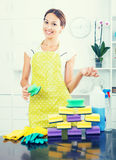 Female cleaner sponges Stock Photo