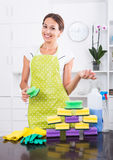 Female cleaner sponges Stock Image