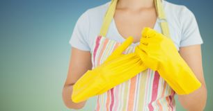 Female cleaner wearing apron and rubber gloves Royalty Free Stock Photo