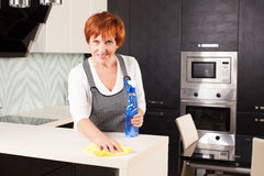 Female cleaning kitchen Royalty Free Stock Image