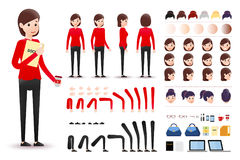 Female Clerk Character Creation Kit Template with Different Facial Expressions. Hair Colors, Body Parts and Accessories. Vector Illustration Royalty Free Stock Image