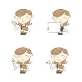 Female clerk with various poses stock illustration