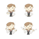 Female clerk with various poses. Female clerk wearing uniform with various poses Stock Images
