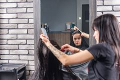 Female client with long wet hair waiting for haircut while profe. Ssional hairdresser combing her hair, sitting in armchair in beauty salon Royalty Free Stock Photo