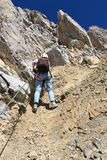 Dolomiti - hiker on via Ferrata Royalty Free Stock Photo