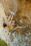 Female climber challenged. Stock Images