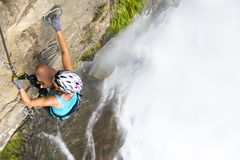 Female climber royalty free stock images