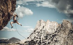 Climber on the edge. stock photography