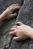 Female climbers hands Stock Image
