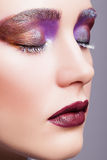 Female closed eye with evening violet eyes shadows, white eyelas Royalty Free Stock Photography