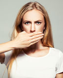 Female with closed mouth Stock Image