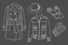 Female Closet. Schematic representation of clothing outline. Sketch of clothes. Outerwear. Demi-season clothes. Hats and accessories. Vector Stock Photography