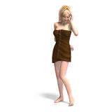 Female Clothed With A Towel Stock Photo