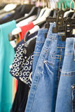 Female clothes. In a fashion shop Royalty Free Stock Photography