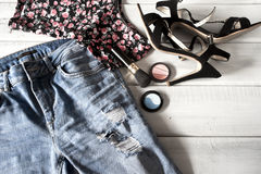 Female clothes and accessories Royalty Free Stock Photography