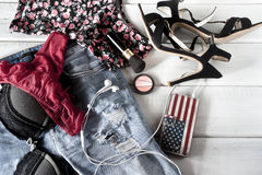 Female clothes and accessories Stock Image