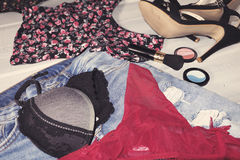 Female clothes and accessories Stock Images