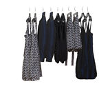 Female clothes on cropped hangers without pole. Royalty Free Stock Photography