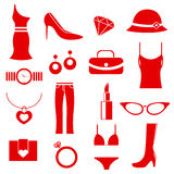Female clothes icons Royalty Free Stock Images