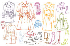 Female clothes set. Autumn ,winter,spring wear. Stock Images